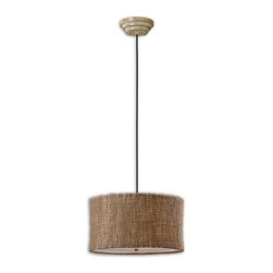 Uttermost - Uttermost 21935  Burleson 3 Light Drum Pendant - Natural twine with an open weave construction and a beige inner liner creates a rustic yet unique appeal. frosted glass diffuser included.