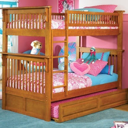 Colorado Bunk bed in Caramel Latte by Atlantic Furniture - The Colorado Bunk Bed is the perfect mission-style bunk bed for your children's bedroom. Available in twin-over-twin construction with railings on the top bunk, the sturdy Colorado Bunk Bed is constructed of solid hardwood. Add optional under-bed storage drawers or an optional trundle unit to make the most of under-bed space.