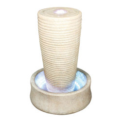 YOSEMITE HOME DECOR - Cylindrical Rock Fountain - This beautifully understated fountain has a natural, sandy brown granite look.  Water flows gracefully down the sides of the ridged cylinder into the LED lit base.  Approved for indoor or outdoor use.
