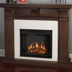 Real Flame - Electric Fireplace in Black Maple Finish - Includes wooden mantel, firebox, screen, and remote control. Distinct craftsman appeal. Three arched corbels supporting substantial top. Plugs into any standard outlet. 1400 watt heater. Rated over 4700 BTUs per hour. Programmable thermostat with display in fahrenheit or celsius. Ultra bright LED technology with five brightness settings. Digital readout display with up to nine hours timed shut off. Dynamic ember effect. UL and ISTA 3A certified. Warranty: Ninety days on mantel and one year on electric firebox. Made from solid wood, veneered MDF and powder coated steel. Assembly required. 49.9 in. W x 12.7 in. D x 42 in. H (108.5 lbs.)This design is sure to compliment a variety of decor, from classic to contemporary.