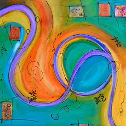 """Loop"" (Original) by Amy Tuso - ""Loop"" is a beautifully blended acrylic and ink abstract with artwork continuing around 1.5"" sides and is ready to hang as it.  Can be hung and any of your preferred directions."
