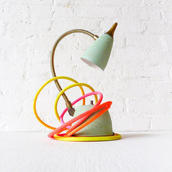 Retro Mint Green Gooseneck Lamp with Ombré Cloth Cord by Earth Sea Warrior - Oh my! I love this vintage lamp retrofitted with a hand-dyed neon cord. It's such an unexpected mixture of old and awesome.