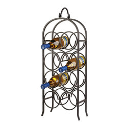"""Oenophilia - Wine Arch Counter Wine Rack, 8 Bottle - An architectural feature since ancient times the arch is designed to support substantial amounts of weight. Black finish. Holds 6 or 8 bottles.  6 bottle: 15.5""""H x 10""""W x 5.25""""D8 bottle: 26.5""""H x 10.5""""W x 5.5""""D."""