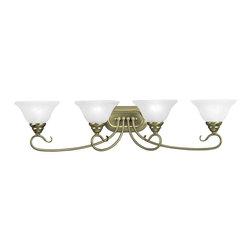 Livex Lighting - Livex Lighting Bath Lighting Coronado, Antique Brass / White Alabaster - Livex Lighting 6104-01 Bath Lighting Coronado.