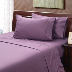 None - Black Plum 400 Thread Count Hemstitch Sheet Set - This lovely plum 400 thread count hemstitch sheet set is constructed of 100-percent cotton and features a 15-inch pocket depth on the fitted sheet with a 360-degree wrapped elastic. The pillowcase and flat sheet have a 4-inch cuff.