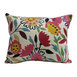 """Kim Parker Inc. - Mums & Asters Pillow, 16""""x20"""", With Insert - Not to discount the thoughtfulness of gifting flowers, but wouldn't you prefer something that lasts longer than a week? This pillow with a bouquet of hand-embroidered blooms would brighten your or your loved one's home for many years to come."""