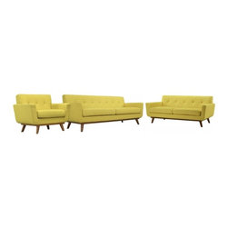 Modway Imports - Modway EEI-1349-SUN Engage Sofa Loveseat and Armchair Set of 3 In Sunny - Modway EEI-1349-SUN Engage Sofa Loveseat and Armchair Set of 3 In Sunny