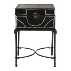 Safavieh - Anthony End Table - A modern take on the steamer trunk, the Anthony end table, crafted from dark brown birch wood, rests atop sturdy metalwork legs. The top opens up for bedside storage, while a lock and nail head trim add an interesting textural detail to this transitional piece.