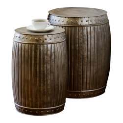 Fluted Rd Barrels Natural, set of 2 - Product Features: