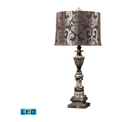 Dimond Lighting - Dimond Lighting Westpoint Distressed Finish Table Lamp w/ Chocolate Damask Print - Distressed Finish Table Lamp w/ Chocolate Damask Print Shade - LED Offering Up To 800 Lumens belongs to Westpoint Collection by Dimond Lighting Lamp (1)