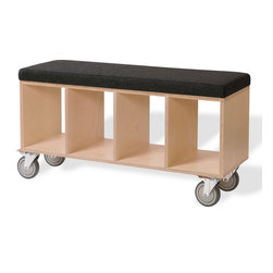 "OFFI - Bench Box With Pad And Casters Upholstery - Designed by OFFI. Inside dimensions of each box: 10""W x 15""D x 13.25""H."