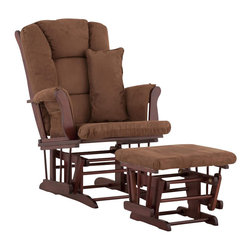 Stork Craft - Stork Craft Tuscany Glider and Ottoman with Free Lumbar Pillow in Cherry with Ch - Stork Craft - Rocking Chairs Rockers - 06554594 - Available in 6 wood finishes and 4 fabric combinations to create your own custom Tuscany Glider and Ottoman. The Stork Craft Tuscany Glider and Ottoman set offers gentle motion while feeding your baby in those early morning hours. Featuring a solid construction with a magical sleigh design this is a royal centerpiece for your nursery. The enclosed metal ball-bearings allow for an incredibly smooth motion to glide your baby back to sleep. Micro fiber spot-cleanable cushions ease the worry about spills while the construction offers an exquisite finish you'll appreciate far beyond the baby years. The Tuscany Glider comes with a matching soft plush lumbar support pillow for supporting your baby during feeding times.