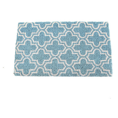 Marrakesh Doormat - Made of 100% handwoven coir fibers, this vibrant mat is a sophisticated look for your doorstep. The design comes from a traditional pattern found throughout Morocco, and its eco-friendly, sky blue dyed will create a refreshing entrance for your guests. For indoors or out, it's easy to clean with just a simple vacuum.