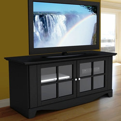 """Nexera - Pinnacle 56"""" TV Stand - Black - The Pinnacle TV Console is very classy, convenient and practical, it will enhance any family or living room. Can accept up to 60"""" flat screen TV sizes. Two closed storage compartments each with 1 adjustable shelf and wire management grommets. The doors are made of 1 solid piece of MDF with glass inlay. Front bottom moulding and handles add to the charm of this TV console. The top and the doors are made of MDF with a rich black textured lacquer finish. The sides and shelves are covered in a rich black laminate finish.;Features: 56"""" TV Console;49"""" TV console with two glass doors, 2 adjustable shelves, accommodates up to 4 electronic devices, accommodates up to 60"""" TV;Collection: Pinnacle;Finish: Black;Weight: 91 lbs.;Dimensions: 55.925""""W x 21.5""""D x 24.5""""H"""