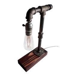 Urban Industrial Craft - Rustic Industrial Edison Bulb Lamp - includes Bulb, Red Mahogany, Classic Edison - Urban Industrial Craft -