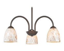 Design Classics Lighting - Chandelier with Mosaic Glass in Bronze Finish - 592-220 GL1026MB - Mosaic glass neuvelle bronze 3-light chandelier with modern bell glass shades. Takes (3) 100-watt incandescent A19 bulb(s). Bulb(s) sold separately. UL listed. Dry location rated.