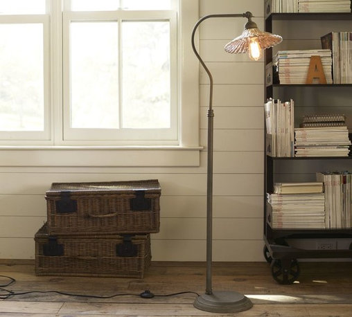Whitney Task Floor Lamp - This beautiful fluted mercury glass floor lamp is stunning! I would love to have two of these art nouveau pieces flanking the bed for wonderful task lighting.