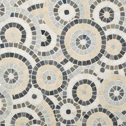 Celestial Starry Blue Polished Mosaic - Thassos, Azul Cielo, Azul Macaubas, Bardiglio, Bianco Antico. (1 sf) Interlocking Sheet