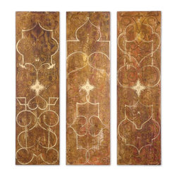 Uttermost - Uttermost Scrolled Hand Painted Panels Set of 3 32132 - Frameless hand painted panels on hard board with outer edges painted black. Due to the handcrafted nature of this artwork, each piece may have subtle differences.