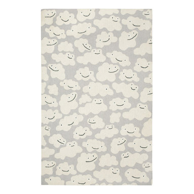 Cloud People rug in Grey - We took inspirations for this collection by just staring at the sky. The stars, rainbows, and clouds are infinite reminders to celebrate the natural beauty all around us.  This collection works in many spaces - a child's room, an office, a living room, anywhere.