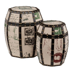 Southern Enterprises - Vintage Paris Postcard 2-Piece Storage Drum Set - Add an eye-catching piece to your home that offers both beauty and practicality. This unique drum set is a charming focal point and conversation starter while also offering enclosed storage. This set includes two decorative drums in a tan burlap finish with classic postcard designs which inspire an air of travel. The edges feature black trim with copper finish nails, adding to the suggestion of the journey abroad. The drums can be stacked in a corner or placed side by side for a beautiful addition to any room. The drum lids remove easily to reveal interior storage space that is perfect for small household items. This storage drum set will add artistic charm to the family room, home office, or bedroom. This set adds a lively character to homes with modern or vintage decor.