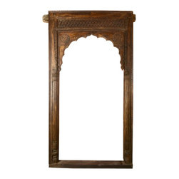 Sierra Living Concepts - Impressive Indian Hand Carved Arch - An exceptionally beautiful and antique style Indian archway for your home, porch, patio or any place you want something beautiful and interesting, perhaps, a restaurant, bar or other business. This arch is reclaimed from India, teak, hand carved, and rich with history, tradition and Indian culture.