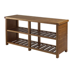 Winsome - Keystone Shoe Bench, Teak Finish - Keystone Shoe Bench, Teak Finish