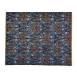 1800-Get-A-Rug - Oriental Rug Hand Woven Denim Blue Flat Weave Ikat Design Sh13112 - About Wool Pile