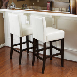 Christopher Knight Home - Christopher Knight Home Lopez Ivory Wood/Leather Bar Stools (Set of 2) - These lovely contemporary bar stools provide the perfect piece to accent your bar or counter space.  The espresso-stained hardwood legs are beautifully offset by cream bonded leather seats. The height of the seats measures 29.5 inches.