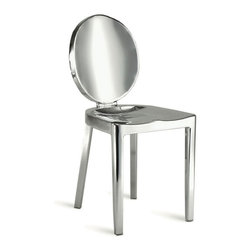 High Beams Side Chair - Made of polished steel with a molded seat for comfort, these chairs are sturdy enough for patio or indoor use. With a classically popular, modern European silhouette, their gleaming, polished finish complements and reflects the light in any room.