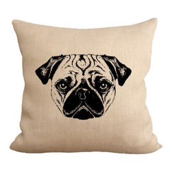 Fiber and Water - Pug Pillow - A cute illustration of a pug face. This hand-printed piece of art has beautiful texture from a combination of natural burlap and water-based paints. Hand-pressed onto natural burlap using water-based inks.