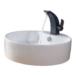 Kraus - Kraus White Round Ceramic Sink and Illusio Basin Faucet Oil Rubbed Bronze - *Add a touch of elegance to your bathroom with a ceramic sink combo from Kraus
