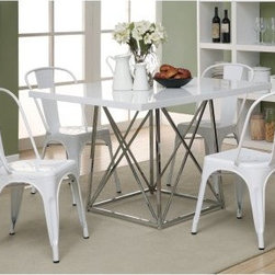 Monarch Glossy White 5 Piece Modern Dining Set - With Cafe Stools - Perfect for a smaller dining area, the Monarch Glossy White 5 Piece Modern Dining Set - With Cafe Stools offers a modern design with versatile functionality. The table features a sturdy metal base and a wood top with a glossy white finish, while the four cafe-style stools are made of durable metal.About Monarch SpecialtiesWilbur Berger established Monarch Glass in 1950 on Rachel Street in Montreal, providing quality custom mirror and glasswork for both retail stores and the home. Understanding that there was more business with glass, Monarch started manufacturing and then diversified to importing mirrors and frames. Currently, the company is centered in Quebec, where it is a leader among furniture importers and distributors, focusing on fashion forward designs and impeccable customer service.