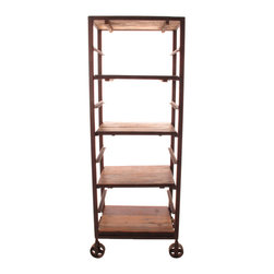 """Kathy Kuo Home - Buttermere Reclaimed Wood Tall Baker's Rack Display Bookcase - Store anything from pumpernickel to """"War and Peace."""" Talk about versatility, this tall baker's rack will give your space some serious storage or smart industrial-style display. Made from reclaimed wood, the four chestnut-finished shelves can be spaced to allow extra room for tall items such as candlesticks, books or large photographs."""