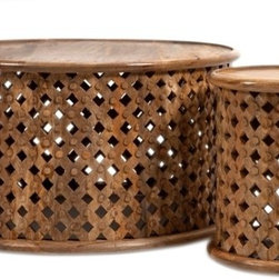 Morrocan Style Abdalla Carved Wooden Tables - Set of 2 - *The Abdalla coffee table and end table feature a hand carved lattice pattern and rich, natural tones.