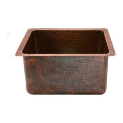 "Premier-Copper-Products - 16"" Rectangular Hammered Copper Prep Sink - BREC16DB Premier Copper Products Gourmet Rectangular Hammered Copper Bar/Prep Sink"