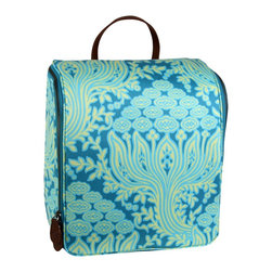 Amy Butler for Kalencom - Amy Butler Sweet Traveler Bag, Cloud Vine Marine - Our Amy Butler Sweet Traveler Ultimate Toiletry Bag in Cloud Vine Marine is a clean, modernly refined exterior that opens up to reveal well-placed highly organized pockets to hold your bath and beauty supplies. The top pouches attach with Velcro for easy access, and the stow-away hook helps to keep your grooming elevated. All organic cotton with zipper closure, multiple pockets, leather loop handle, steel hook, and coordinated contrast lining.