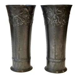 Orivit Art Nouveau Pewter Spill Vases, Pair, ca. 1900 - Q Antiques and Design