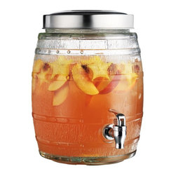 "Home Essentials - Glass Barrel Drink Dispenser with Spigot - The 2 gallon Barrel Beverage Dispenser makes dispensing liquid barrels of fun! * Features a chromed plastic spigot.* Wide opening makes refilling and cleaning simple* Dimensions:13"" tall Diameter 7""."