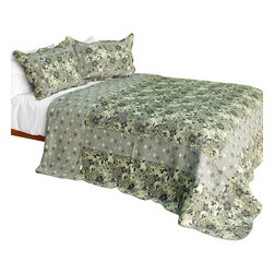 Blancho Bedding - Noble Garden Cotton 3PC Vermicelli-Quilted Patchwork Quilt Set  Full/Queen - Set includes a quilt and two quilted shams (one in twin set). Shell and fill are 100% cotton. For convenience, all bedding components are machine washable on cold in the gentle cycle and can be dried on low heat and will last you years. Intricate vermicelli quilting provides a rich surface texture. This vermicelli-quilted quilt set will refresh your bedroom decor instantly, create a cozy and inviting atmosphere and is sure to transform the look of your bedroom or guest room. Dimensions: Full/Queen quilt: 90 inches x 98 inches  Standard sham: 20 inches x 26 inches.