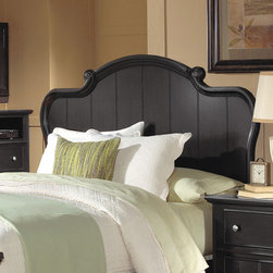 """Welton - Collette Headboard - The traditional style of the """"Collette"""" bedroom suite will add a touch of charm to any bedroom. Features elegant scroll work accents on the bed, turned bun feet and panel design, The """"Collette"""" is just another reason to Love Coming Home by Welton USA. Features: -Collette Collection. -Rich Ebony finish. -Constructed of wood solids and maple veneers. -Warm brown undertones. -Scroll work accents."""