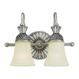 Sea Gull Lighting - Sea Gull Lighting-47251-824-Two-light Highlands Wall Fixture - Two Light Decorative Bath Bracket in Palladium Finish with Dusted Ivory Glass Shades.