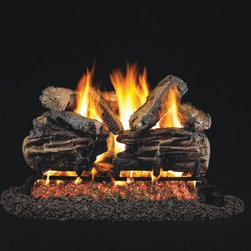 Real Fyre Charred Split Oak Vented Gas Log Set - Strengthen your hearth and home with the Real Fyre Charred Split Oak Vented Gas Log Set. The mighty oak has always been a symbol of nobility and strength because of the quality of its hardwood lumber. And this log set lives up to its name with molded-ceramic logs constructed around steel-rod inserts. The molded ceramic isn't only tough enough to withstand the high temperatures of the flames however; the ceramic construction is also capable of retaining not just withstanding heat - so the logs amplify the amount of heat during the burn and continue to radiate even after the burner has been shut off. This material also provides a reliable medium for designing and casting lifelike definition in the logs capturing the look of natural textures and colors. And the silica sand and platinum embers add an extra touch of believability. And unlike real logs these don't create an ashy mess or require constant trips out in the cold to replenish your supply. With three sizes available one is sure to fit your fireplace perfectly. Minimum fireplace sizes: 18-inch insert: 30W x 14D in. 24-inch insert: 34W x 14D in. 30-inch insert: 40W x 14D in. Note: It is recommended that you use a professional installer to ensure the safety of the exhaust system. A licensed contractor should be contacted for installation of all products involving gas lines. About Real FyreReal Fyre understands more about the amazing things that happen when flame and good food meet. For the last 70 years they've set out to create the singularly best way to cook food outdoors using the highest-quality materials innovative design and an absolutely relentless pursuit of perfection. With a complete line of luxury-grade grills burners accessories and built-in grill island components Real Fyre is ready to turn your home into the world's best outdoor kitchen.