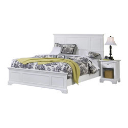 Home Styles - Home Styles Naples Queen Panel Bed 2 Piece Bedroom Set in White Finish - Home Styles - Bedroom Sets - 55305013 - The Naples Queen Panel Bed Two Piece Bedroom Set has solid hardwood and engineered wood construction with a rich multi-step white finish. This bedroom set includes a Queen size panel bed and a nightstand. The panel bed features raised panels on the headboard and footboard. The nightstand features one drawer and a lower open storage compartment for keep all your bed time necessities within arms reach. With contemporary design elements the Naples Queen Panel Bed Two Piece Bedroom Set offers a lasting appeal you will enjoy for many years.The Naples Collection by Home Styles Furniture offers simple yet functional pieces for your home. It features a classic white finish that can blend in with any decor and bracket bases for that added contemporary charm. The Home Styles Furniture Naples Collection appears to be simple in design but it is in the details that give it an exquisite appeal.Includes: