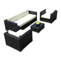 MangoHome - Outdoor Patio Furniture Sofa All-Weather Wicker Sectional 4pc Resin Couch Set - Outdoor Patio Furniture Sofa All-Weather Wicker Sectional 4pc Resin Couch Set