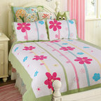 None - Spring Fling Flower Quilt Set - This flower quilt set is perfect for a little girls bedroom. It is made with a 100-percent cotton cover with 100-percent cotton fill. This patchwork quilt features a light background with a colorful green, blue, and red floral design.