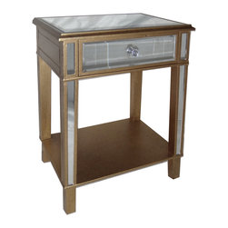 Cheung's - Home Decorative Seasonal Gift Wooden Shelf Cabinet Side Table With Glass Drawer - Knobs Inserted on reverse Side of the drawer to prevent impact damage. Black Splatter on Gold paint. Beautiful Faux Crystal Knobs . Mirrored Legs