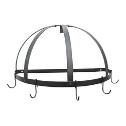 Rogar - Gourmet Half Dome Pot Rack w J Shape Hooks - Wall mounted pot rack. Made from steel. Half round shape. Black color. 22.25 in. L x 11 in. D x 12 in. H (6 lbs.). Includes mounting hardware. No assembly required. Without grid. Powder coated and black steel. Used in smaller kitchen