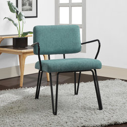 Palm Springs Aqua Accent Chair | Overstock.com - This Mid-century modern chair features a retro aqua colored fabric upholstery on seat and back that is sure to be a crowd pleaser. The Palm Springs chair also offers a black frame that will add a touch of style to any room.