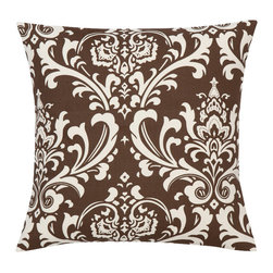 Look Here Jane, LLC - Damask Chocolate Natural Pillow Cover - PILLOW COVER
